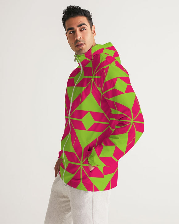 Aztec-Inka Collection Aztec Pink-Green pattern Men's Windbreaker DromedarShop.com Online Boutique