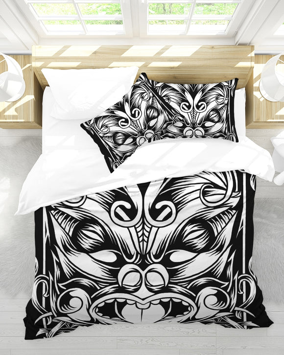 Maori Mask Collection Queen Duvet Cover Set DromedarShop.com Online Boutique
