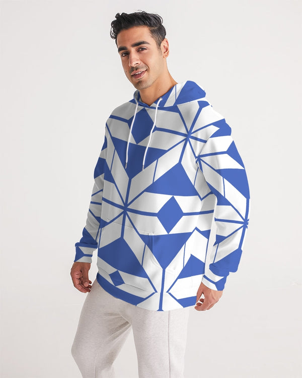 Aztec-Inca Collection Aztec Blue and White pattern Men's Hoodie DromedarShop.com Online Boutique