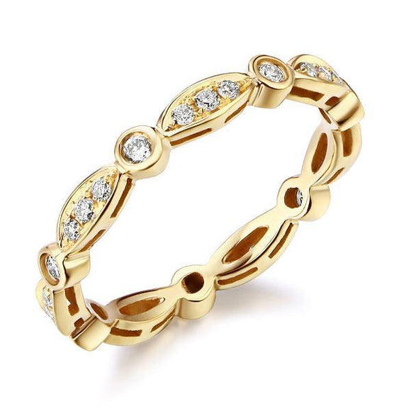 14K Yellow Gold Wedding Band Ring 0.3Ct Natural Diamonds Art Deco Vintage Style