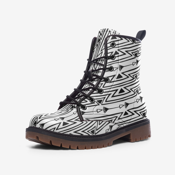 Native North American Hand Drawn Casual Leather Lightweight Boots DromedarShop.com Online Boutique