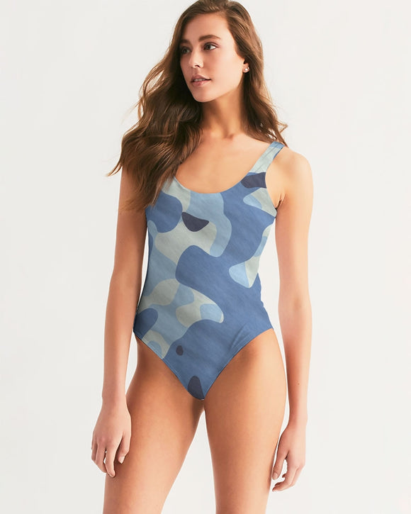 Blue Maniac Camouflage Women's One-Piece Swimsuit DromedarShop.com Online Boutique