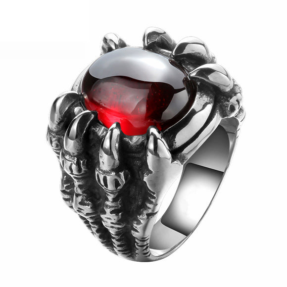 Red Black Opal Stone Skull Dragon Claw Ring - DromedarShop.com Online Boutique