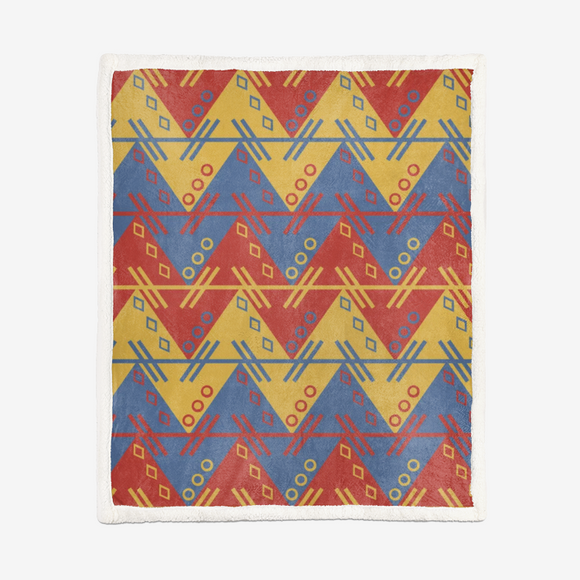 Aztec Red Gold Pattern Double-Sided Super Soft Plush Blanket DromedarShop.com Online Boutique