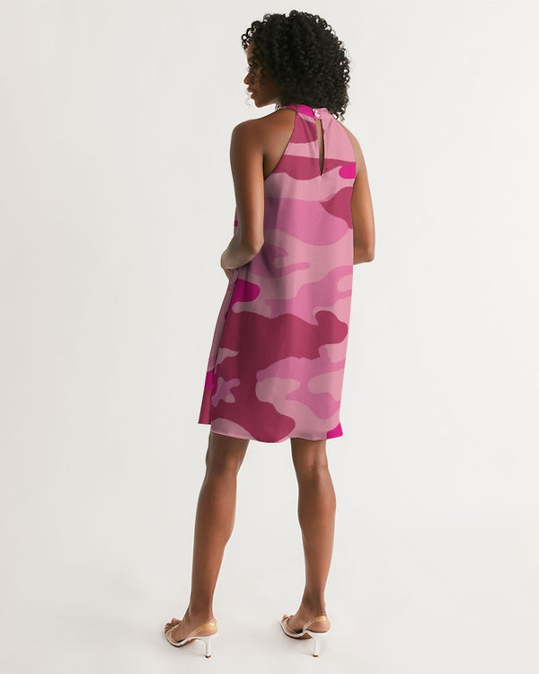 Pink  3 Color Camouflage Women's Halter Dress DromedarShop.com Online Boutique