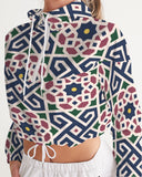 The Miracle of the East Moroccan pattern Women's Cropped Windbreaker DromedarShop.com Online Boutique