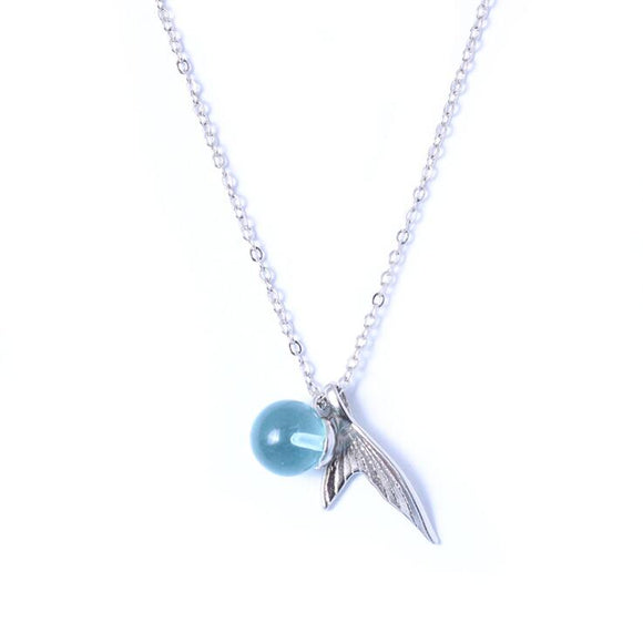 925 sterling silver mermaid  necklace Korean crystal DromedarShop.com Online Boutique
