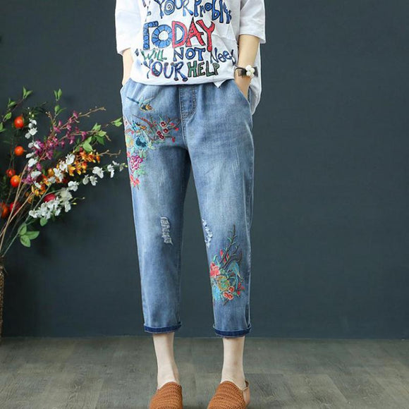 Summer Womens Jeans Denim Retro