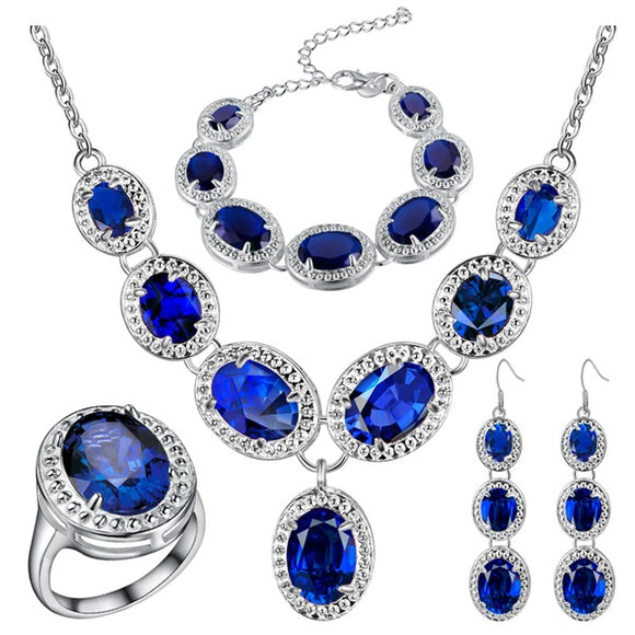 925 Silver Jewelry Earrings Pendant Necklace Rings Bracelet Sets