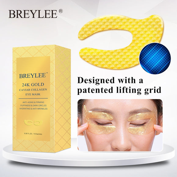 BREYLEE 24K Gold Eye Mask Caviar Collagen Essence   10pairs - DromedarShop.com Online Boutique