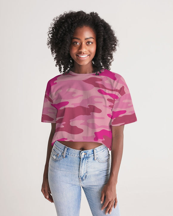 Pink  3 Color Camouflage Women's Lounge Cropped Tee DromedarShop.com Online Boutique