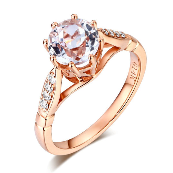 14K Rose Gold Wedding Engagement Ring 1.2 Ct Topaz 0.1 Ct Natural Diamonds