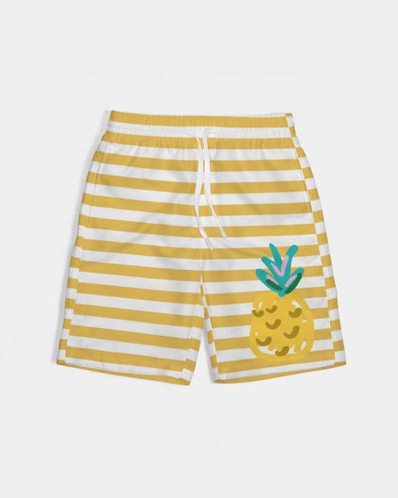 Yellow Stripes on White Boy's Swim Trunk DromedarShop.com Online Boutique