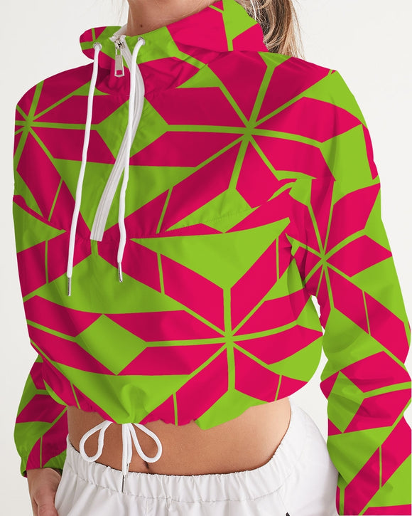 Aztec-Inka Collection Aztec Pink-Green pattern Women's Cropped Windbreaker DromedarShop.com Online Boutique