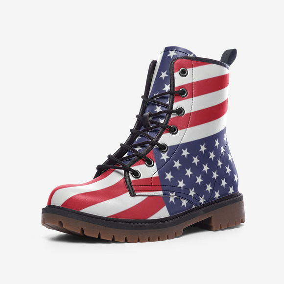 US Flag Casual Leather Lightweight Unisex Boots DromedarShop.com Online Boutique