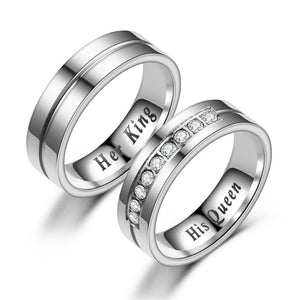 "Titanium Romantic Couple Ring ""His Queen"""" Her King""Engagement Wedding Rings DromedarShop.com Online Boutique"