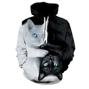 Cute Cat 3D Hoodies Prints Hooded Sweatshirt