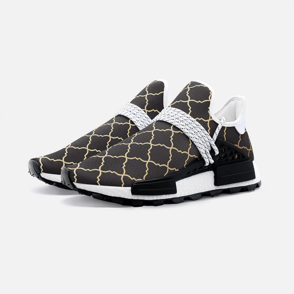 Miracle of the East Gold Black Arabic pattern Unisex Lightweight Sneaker S-1 Boost DromedarShop.com Online Boutique