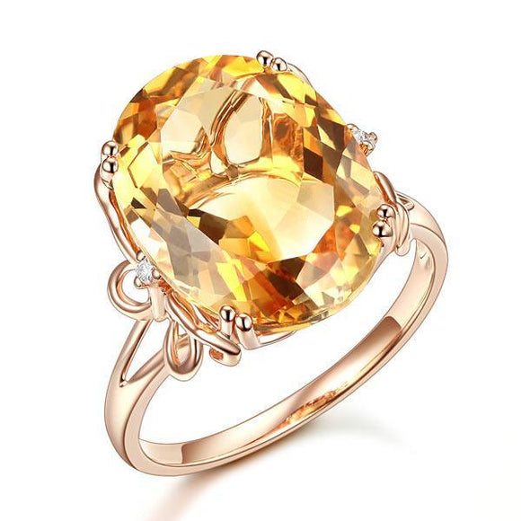 14K Rose Gold Luxury Anniversary Ring 8.2 Ct Oval Yellow Citrine Diamond