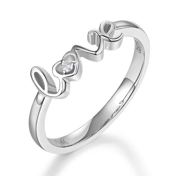 14K White Gold Love Wedding Band Anniversary Women Ring 0.01 Ct Diamond Fine 585