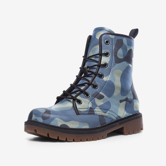 Blue Camouflage Casual Leather Lightweight Unisex Boots DromedarShop.com Online Boutique