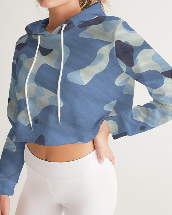 Blue Maniac Camouflage Women's Cropped Hoodie DromedarShop.com Online Boutique
