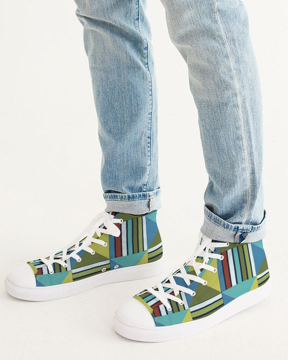 Squares Men's Hightop Canvas Shoe DromedarShop.com Online Boutique
