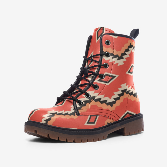Native American Orange Casual Leather Lightweight Unisex Boots DromedarShop.com Online Boutique