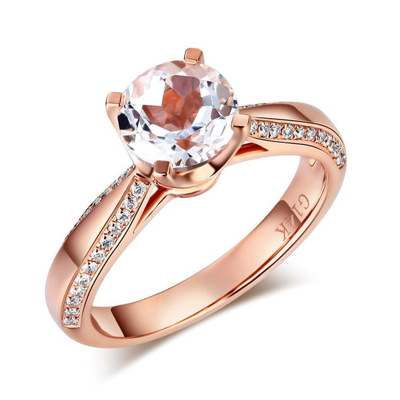 14K Rose Gold Bridal Wedding Engagement Ring 1.2 Ct Topaz 0.2 Ct Natural Diamond