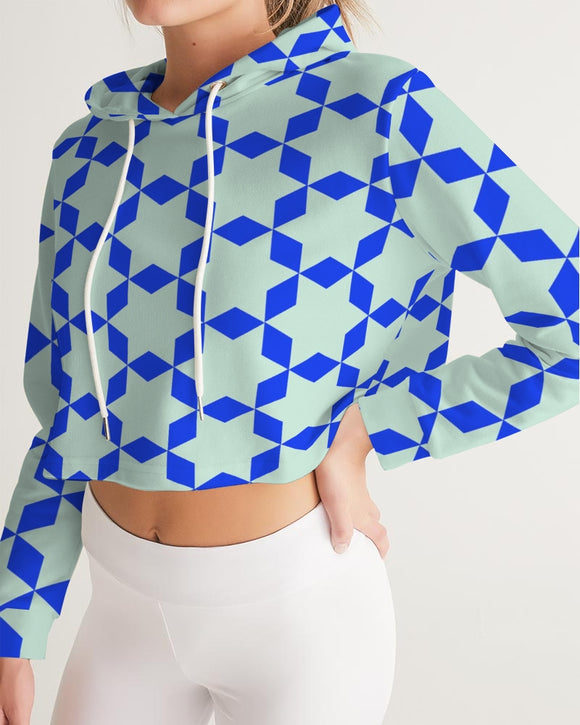 The Miracle of the East  Blue Arabic-pattern Women's Cropped Hoodie DromedarShop.com Online Boutique