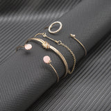 4 Pcs/ Set Classic Arrow Knot Round Crystal Gem Multilayer Adjustable Open Bracelet Set - DromedarShop.com Online Boutique