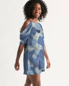 Blue Maniac Camouflage Women's Open Shoulder A-Line Dress DromedarShop.com Online Boutique