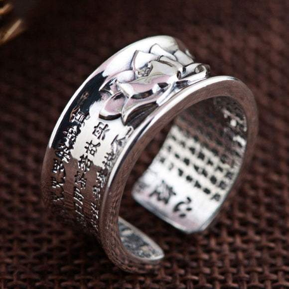999 Pure Silver Jewelry Buddhistic Sutra Open Rings for Women DromedarShop.com Online Boutique