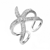 S90 Silver Big Starfish Paved Shiny White Crystals Ring DromedarShop.com Online Boutique