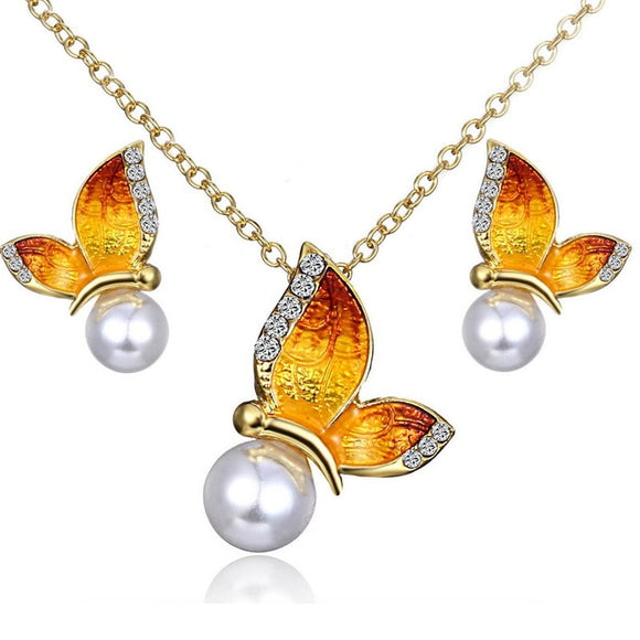 Butterfly Jewelry Necklace Earrings Sets