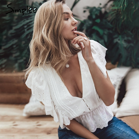 Simplee v neck summer blouse