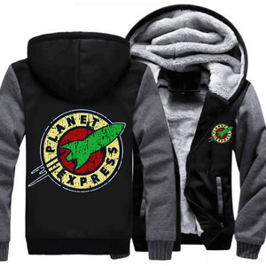 Men Women Planet Express Zipper Coat Winter Fleece Warm Hooded Jackets