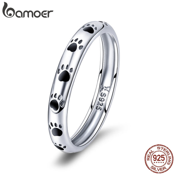 925 Sterling Silver Dog Footprints Rings for Women