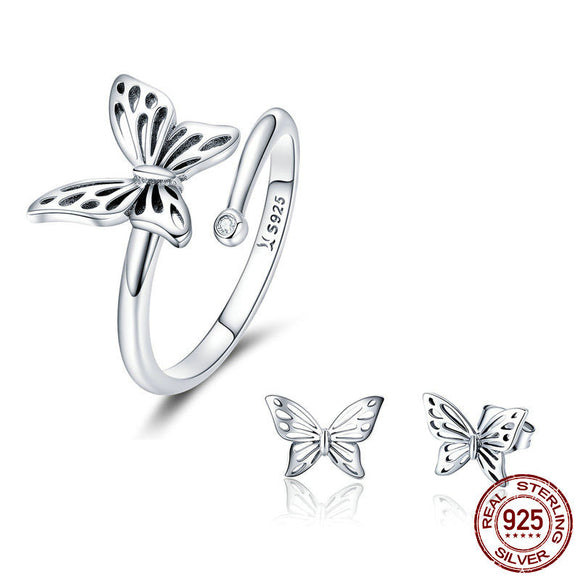 925 Sterling Silver Butterfly Rings & Earrings Jewelry Sets