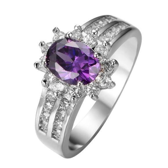 Elegant Purple Oval 925 Sterling Silver Filled Wedding Ring Jewelry - DromedarShop.com Online Boutique