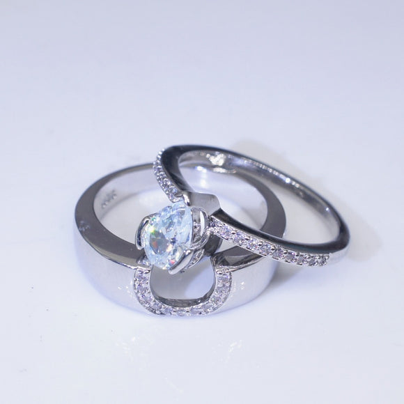 Luxury Crystal Silver Engagement Wedding Ring Set for Women DromedarShop.com Online Boutique