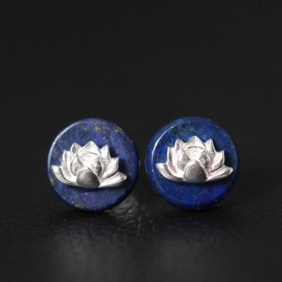 S925 Pure Silver Stud Earrings for Women, Handmade Lapis Lazuli Lotus Round - DromedarShop.com Online Boutique