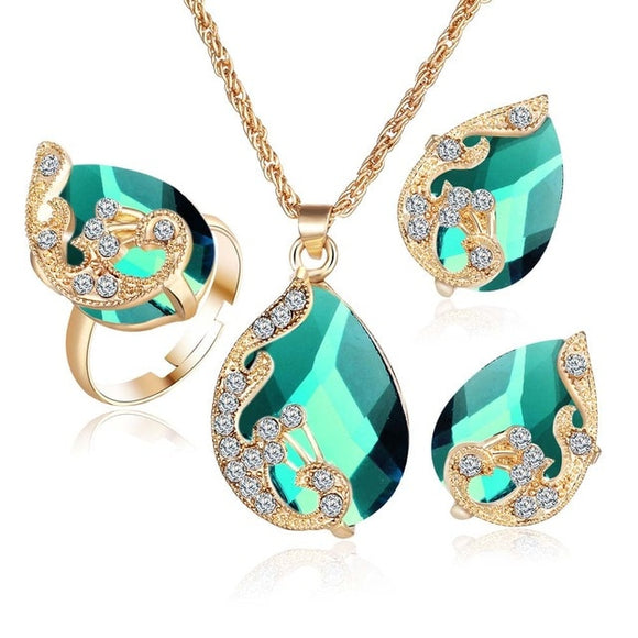 Crystal Peacock Jewelry Necklace Earring Ring Sets