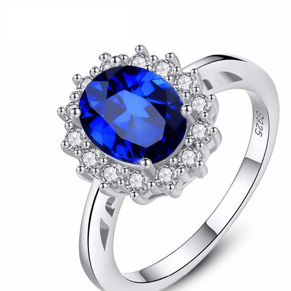 Sapphire Blue Wedding Engagement 925 Sterling Silver Ring