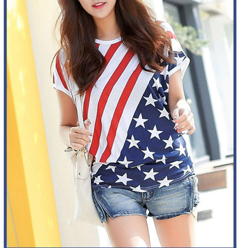 Women's Casual T shirts American Flag Printed