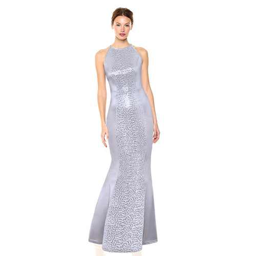Silver Women Elegant Long Dress DromedarShop.com Online Boutique