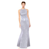 Silver Women Elegant Long Dress - DromedarShop.com Online Boutique