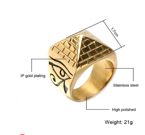 Men' Punk Egyptian Pyramid Ring Fashion Hip hop Jewelry The Eye of Horus Rings DromedarShop.com Online Boutique