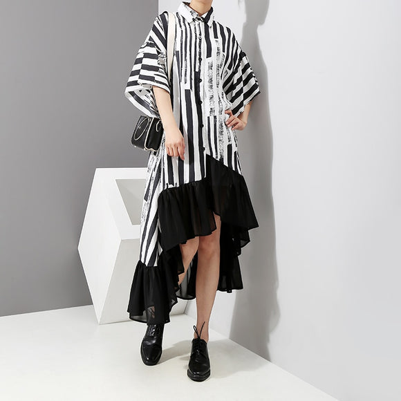 Women Summer Asymmetrical Black Striped Shirt Dress Plus Size DromedarShop.com Online Boutique
