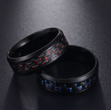 Titanium Steel Black Carbon Fiber Mens Cool Rings Fashion Red Blue Ring Anel Masculino Jewelry - DromedarShop.com Online Boutique
